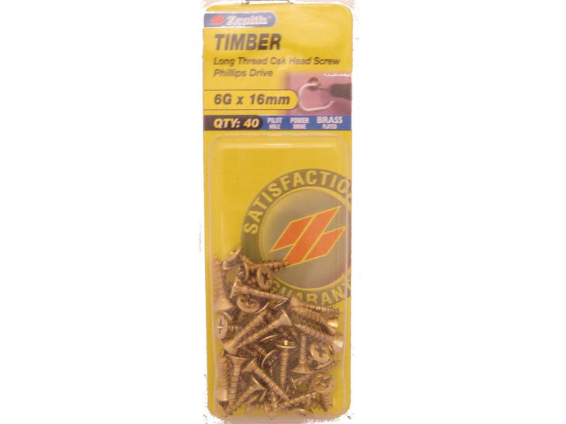 Zenith Timber Screws 6G x 16mm Brass Plated 40 Pack