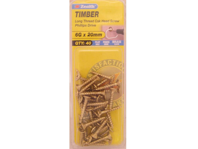 Zenith Timber Screws 6G x 20mm Brass Plated 40 Pack