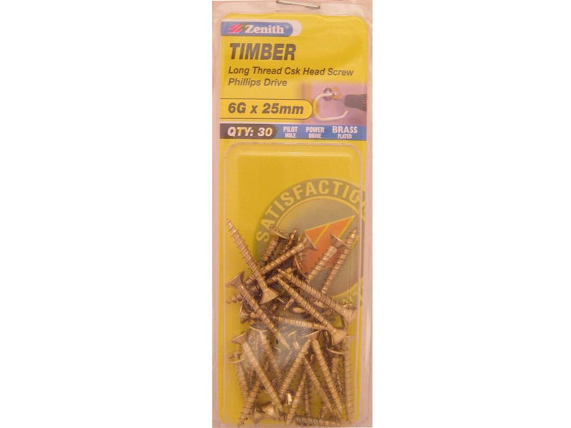 Zenith Timber Screws 6G x 25mm Brass Plated 30 Pack