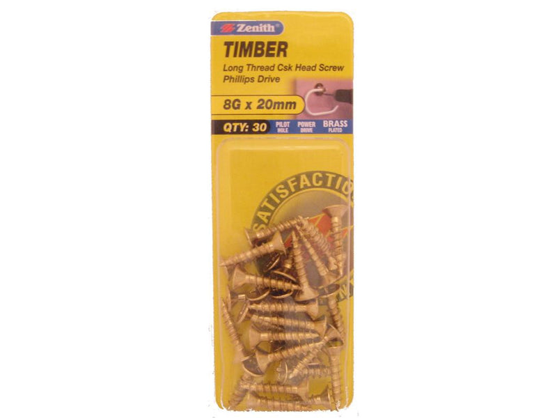 Zenith Timber Screws 8G x 20mm Brass Plated 30 Pack