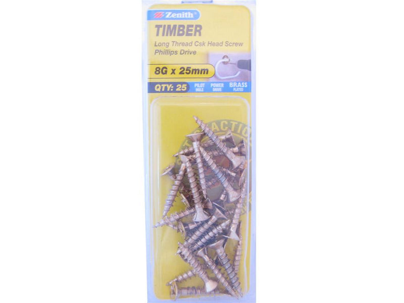 Zenith Timber Screws 8G x 25mm Brass Plated 25 Pack