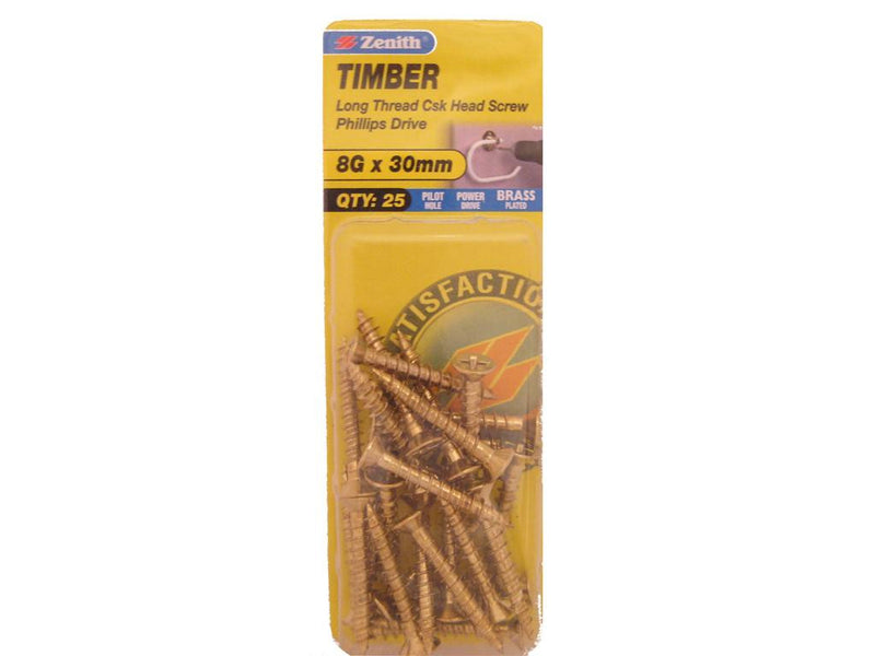 Zenith Timber Screws 8G x 30mm Brass Plated 25 Pack