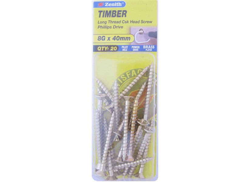 Zenith Timber Screws 8G x 40mm Brass Plated 20 Pack