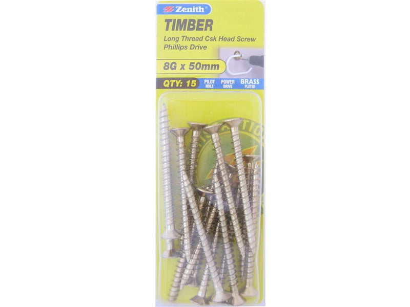 Zenith Timber Screws 8G x 50mm Brass Plated 15 Pack