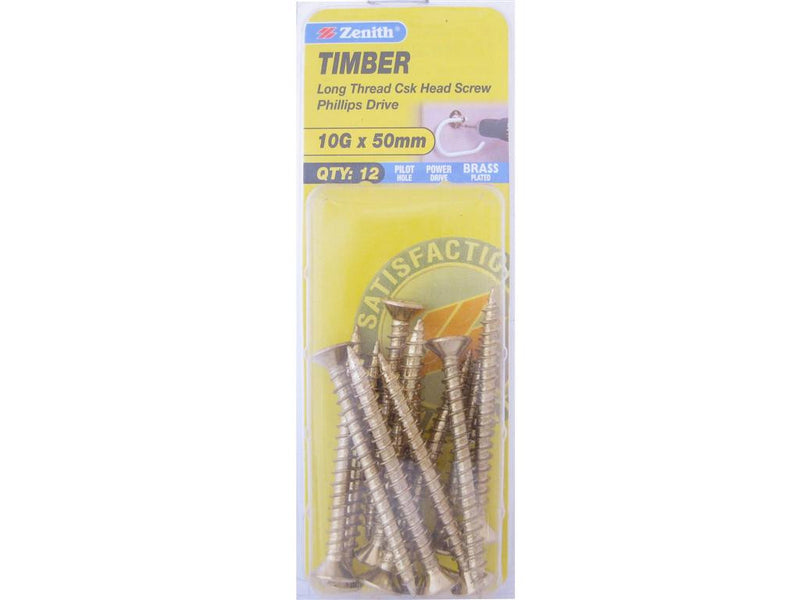 Zenith Timber Screws 10G x 50mm Brass Plated 12 Pack