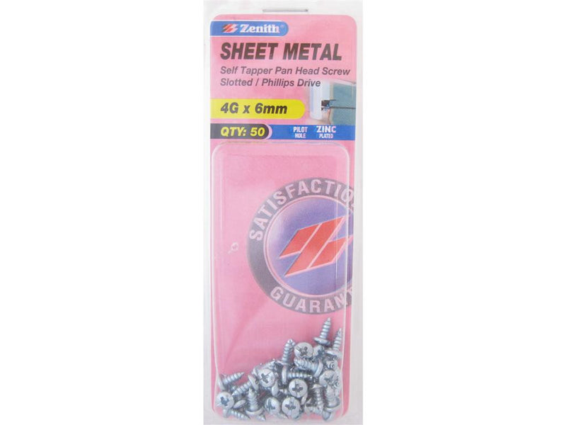 Zenith Sheet Metal Screws 4G x 6mm Zinc Plated 50 Pack