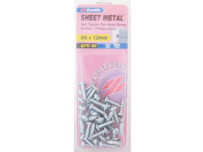 Zenith Sheet Metal Screws 6G x 12mm Zinc Plated 40 Pack