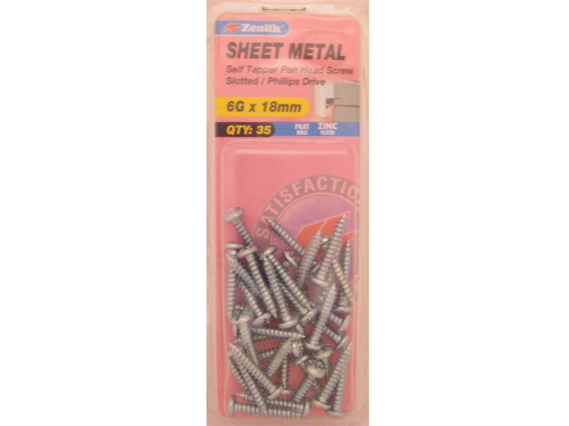 Zenith Sheet Metal Screws 6G x 18mm Zinc Plated 35 Pack