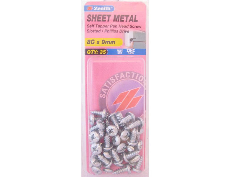 Zenith Sheet Metal Screws 8G x 9mm Zinc Plated 35 Pack