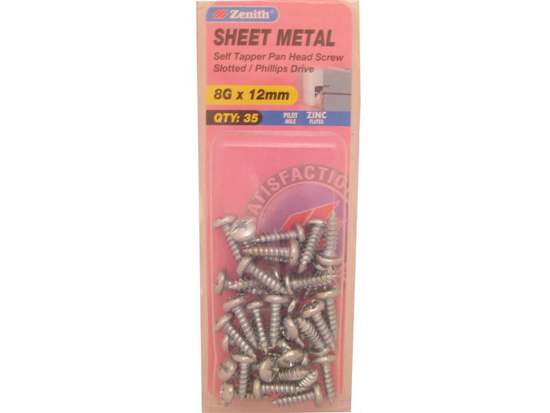 Zenith Sheet Metal Screws 8G x 12mm Zinc Plated 35 Pack