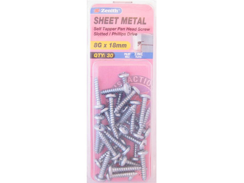 Zenith Sheet Metal Screws 8G x 18mm Zinc Plated 30 Pack