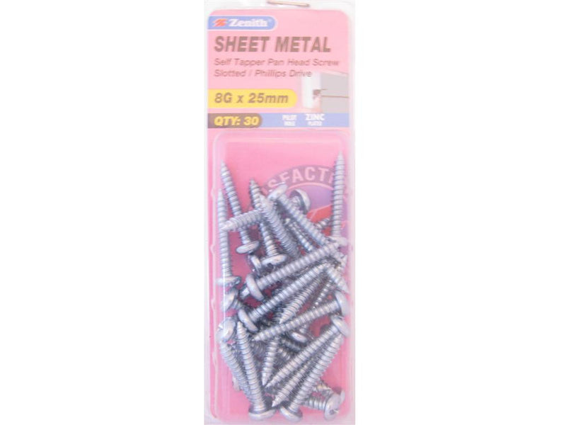 Zenith Sheet Metal Screws 8G x 25mm Zinc Plated 30 Pack