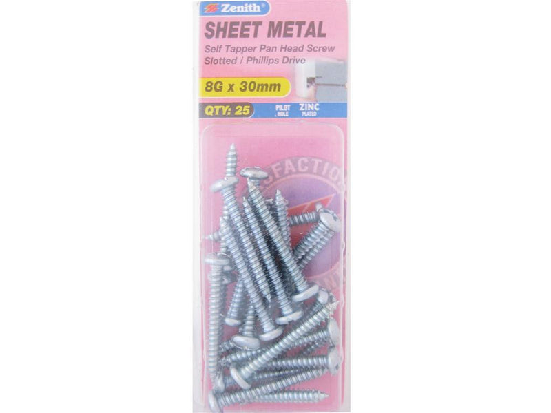 Zenith Sheet Metal Screws 8G x 30mm Zinc Plated 25 Pack