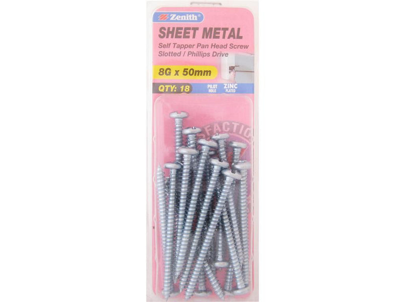 Zenith Sheet Metal Screws 8G x 50mm Zinc Plated 18 Pack