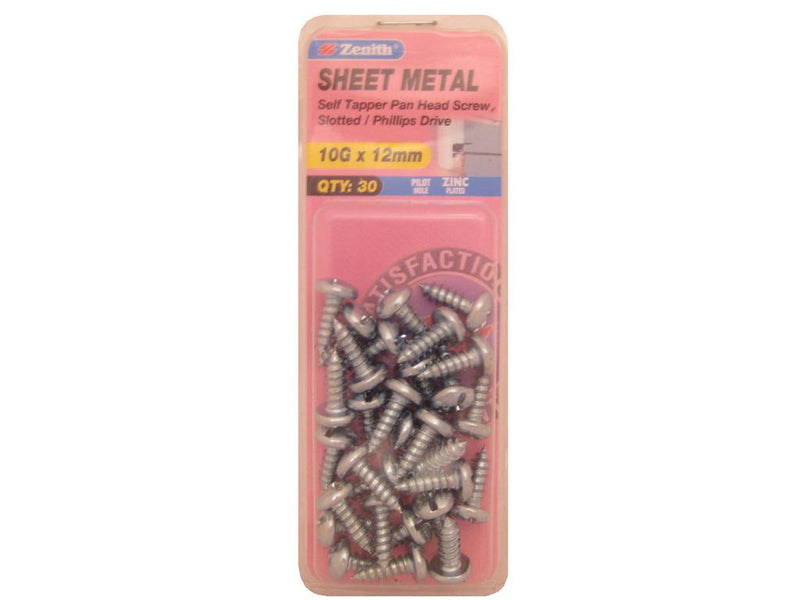 Zenith Sheet Metal Screws 10G x 12mm Zinc Plated 30 Pack