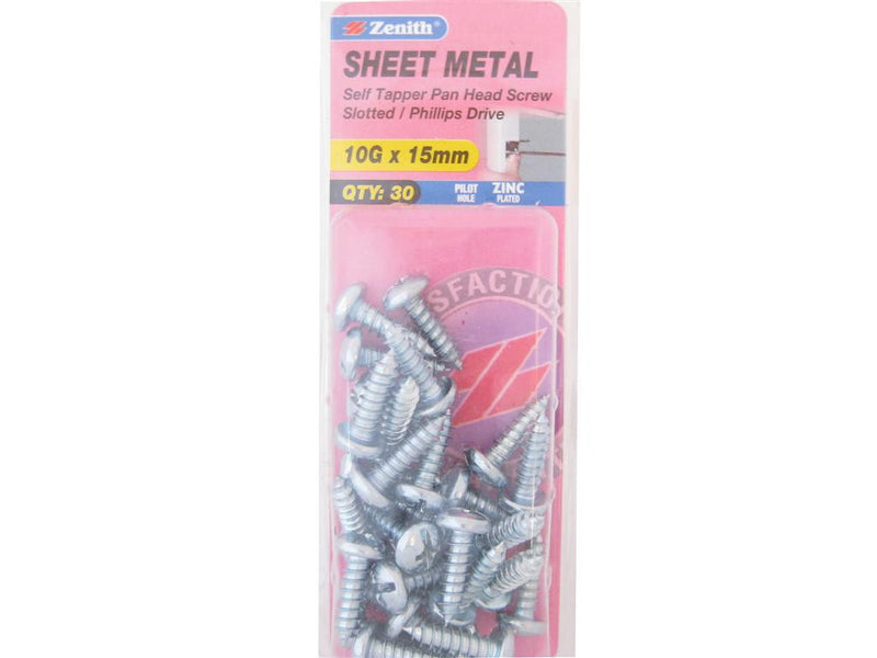 Zenith Sheet Metal Screws 10G x 15mm Zinc Plated 30 Pack