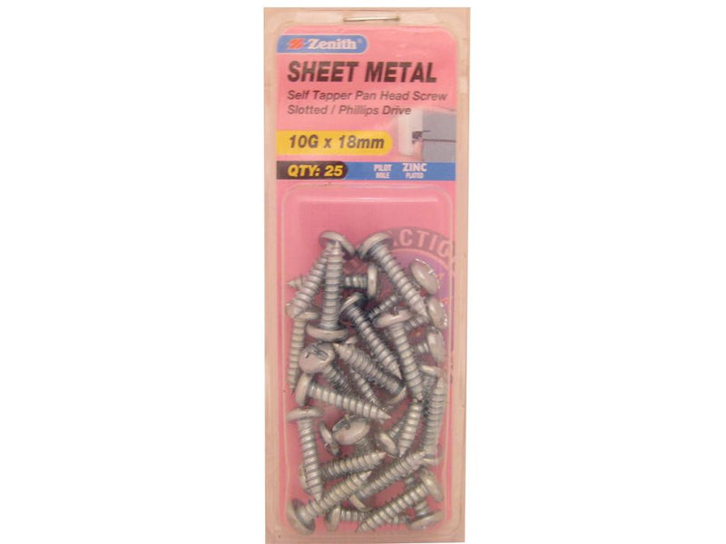 Zenith Sheet Metal Screws 10G x 18mm Zinc Plated 25 Pack