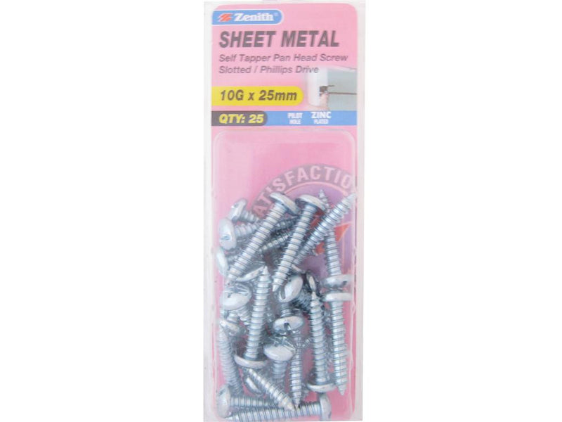 Zenith Sheet Metal Screws 10G x 25mm Zinc Plated 25 Pack