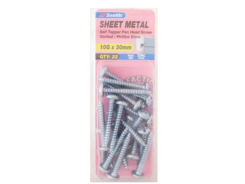 Zenith Sheet Metal Screws 10G x 30mm Zinc Plated 22 Pack