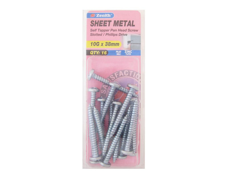 Zenith Sheet Metal Screws 10G x 38mm Zinc Plated 16 Pack