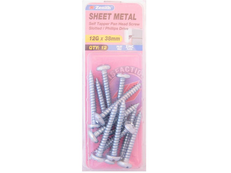Zenith Sheet Metal Screws 12G x 38mm Zinc Plated 12 Pack