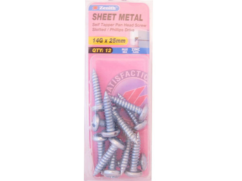 Zenith Sheet Metal Screws 14G x 25mm Zinc Plated 12 Pack