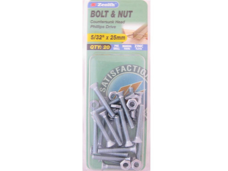 Zenith Bolts & Nuts 5/32 x 25mm Countersunk Zinc Plated Pack of 20