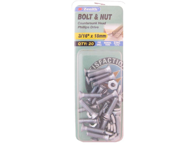Zenith Bolts & Nuts 3/16 x 18mm Countersunk Zinc Plated Pack of 20