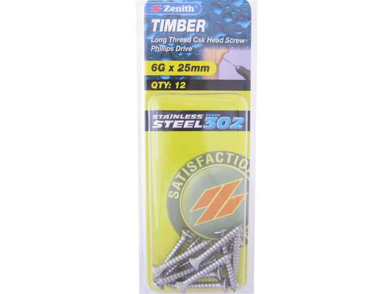 Zenith Timber Screws 6G x 25mm Stainless Steel 12 Pack