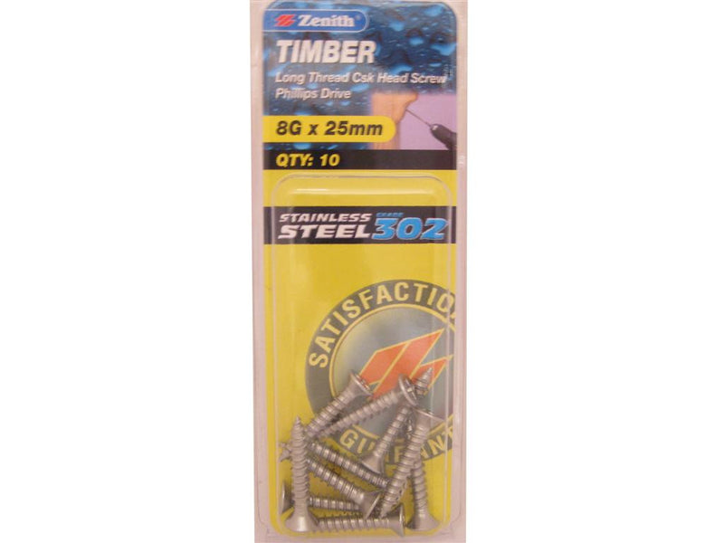 Zenith Timber Screws 8G x 25mm Stainless Steel 10 Pack