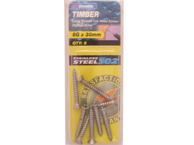 Zenith Timber Screws 8G x 30mm Stainless Steel 8 Pack
