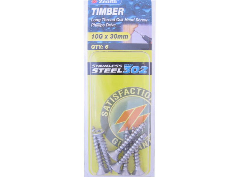 Zenith Timber Screws 10G x 30mm Stainless Steel 6 Pack