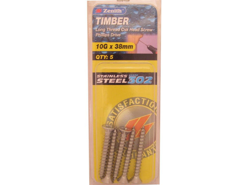 Zenith Timber Screws 10G x 38mm Stainless Steel 5 Pack