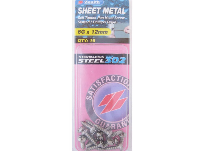 Zenith Sheet Metal Screws 6G x 12mm Stainless Steel 16 Pack