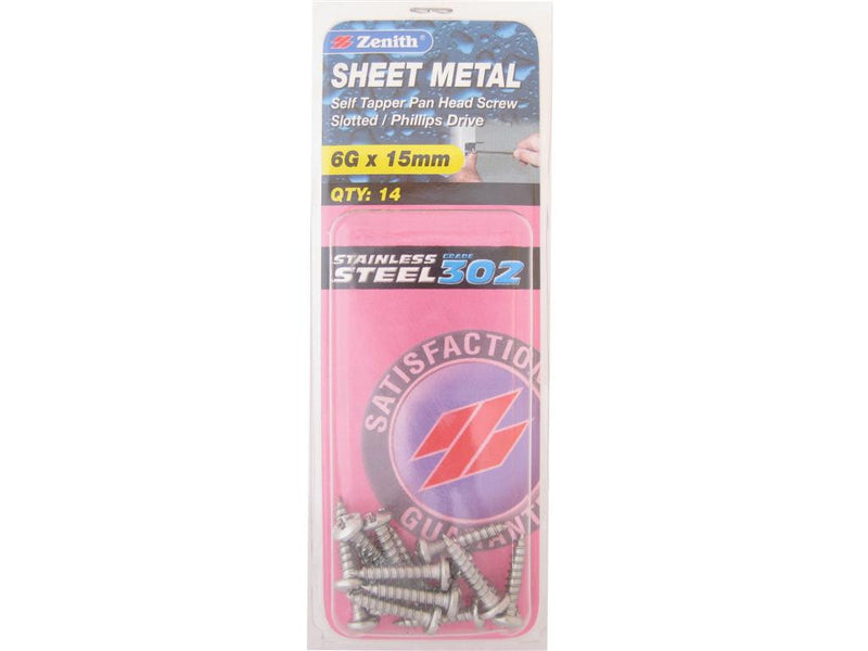 Zenith Sheet Metal Screws 6G x 15mm Stainless Steel 14 Pack