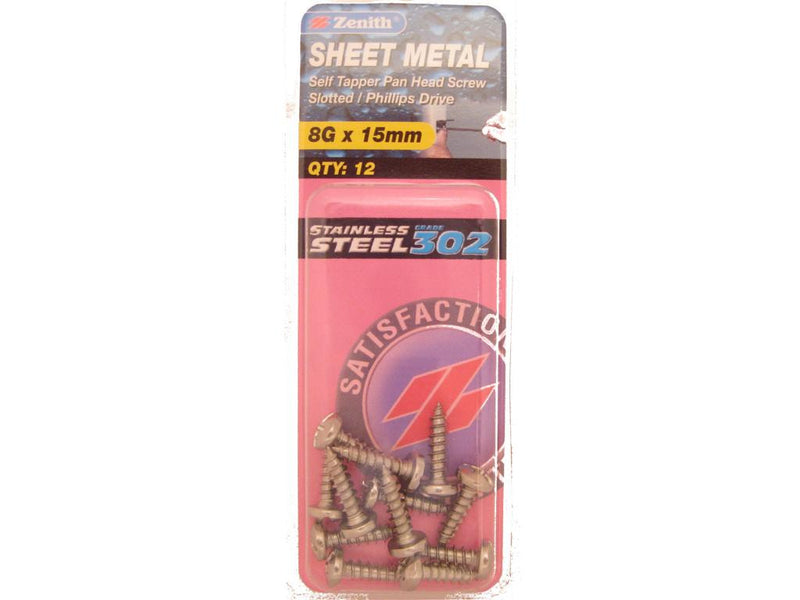 Zenith Sheet Metal Screws 8G x 15mm Stainless Steel 12 Pack