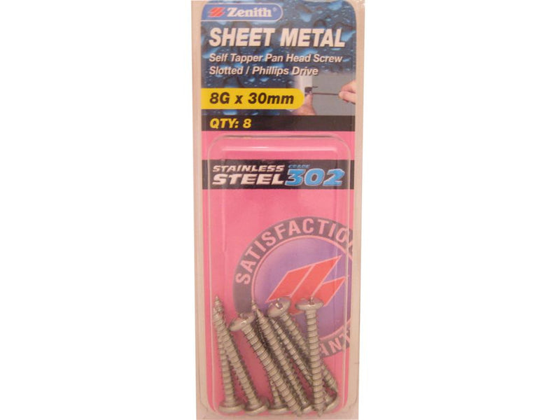 Zenith Sheet Metal Screws 8G x 30mm Stainless Steel 8 Pack