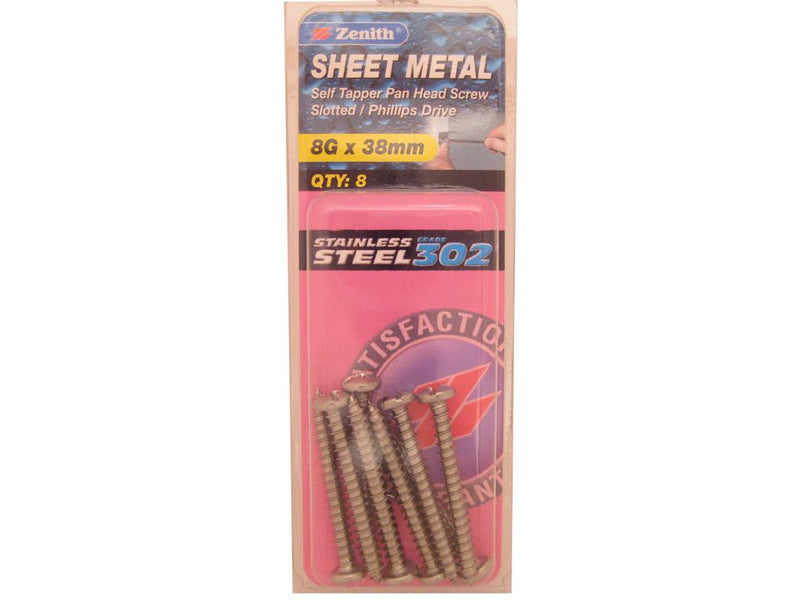Zenith Sheet Metal Screws 8G x 38mm Stainless Steel 8 Pack