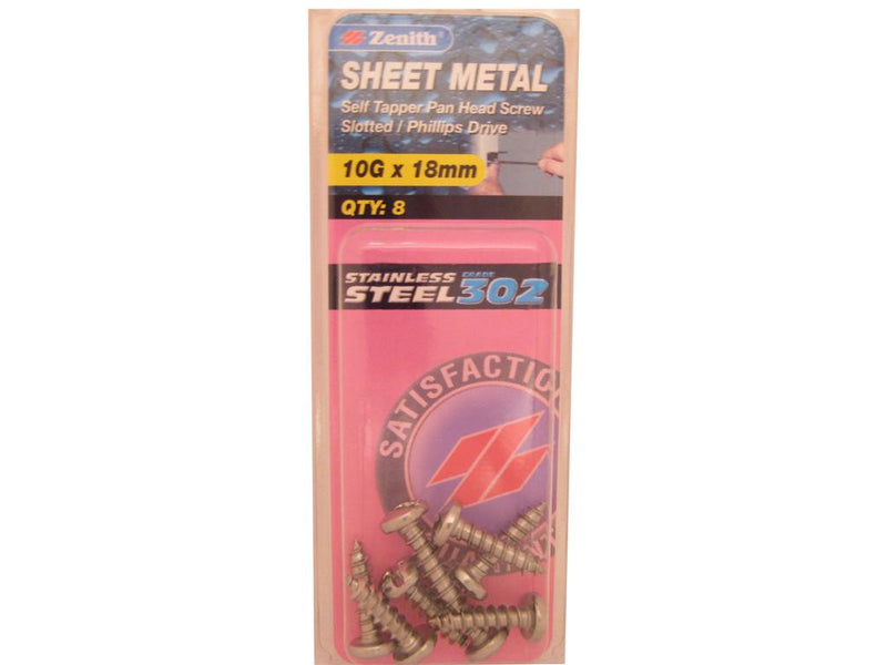 Zenith Sheet Metal Screws 10G x 18mm Stainless Steel 8 Pack