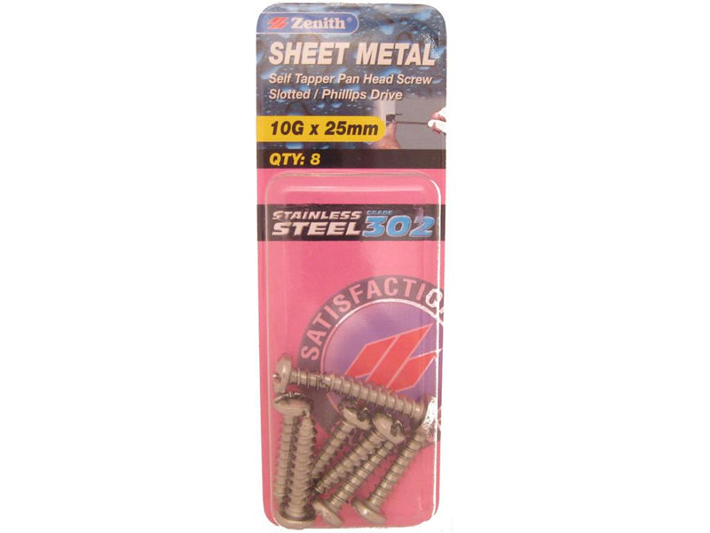 Zenith Sheet Metal Screws 10G x 25mm Stainless Steel 8 Pack
