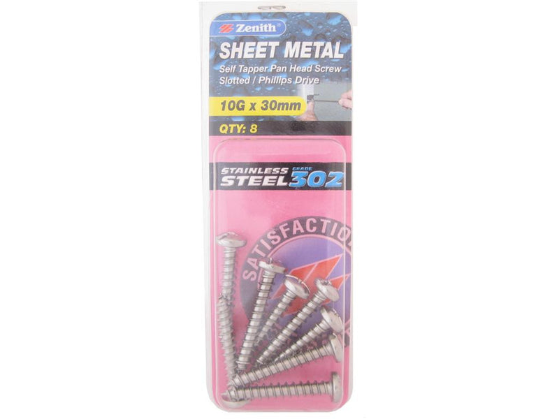Zenith Sheet Metal Screws 10G x 30mm Stainless Steel 8 Pack