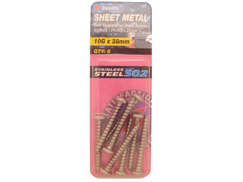 Zenith Sheet Metal Screws 10G x 38mm Stainless Steel 8 Pack