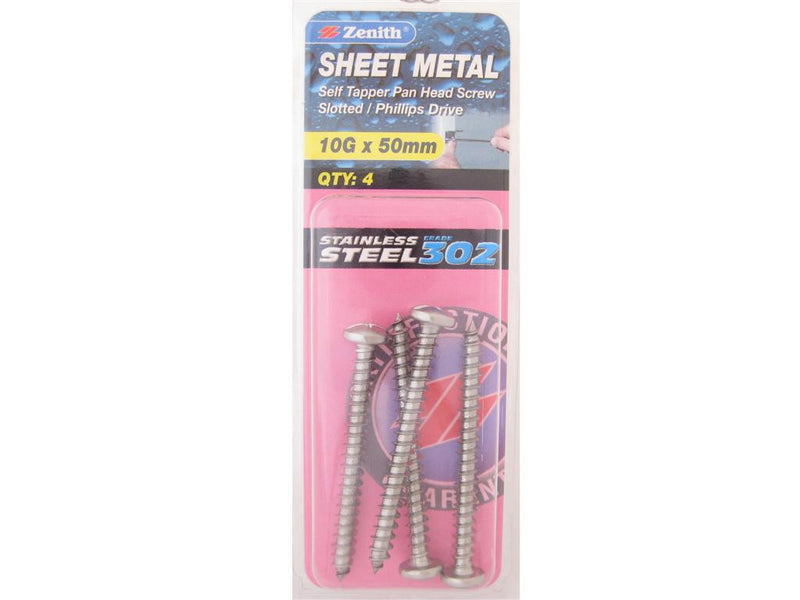 Zenith Sheet Metal Screws 10G x 50mm Stainless Steel 4 Pack