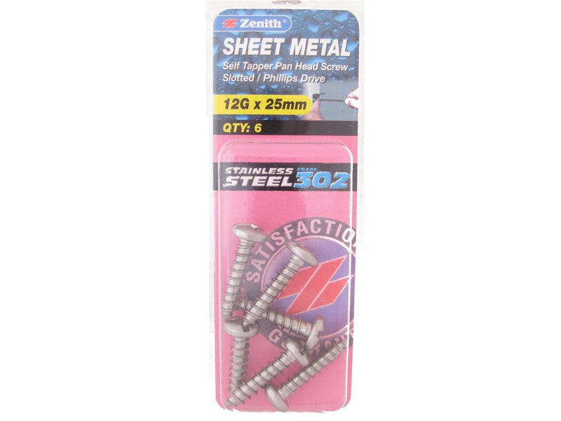 Zenith Sheet Metal Screws 12G x 25mm Stainless Steel 6 Pack