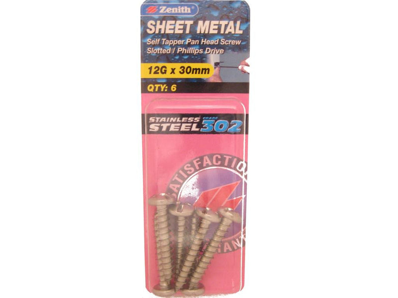 Zenith Sheet Metal Screws 12G x 30mm Stainless Steel 6 Pack