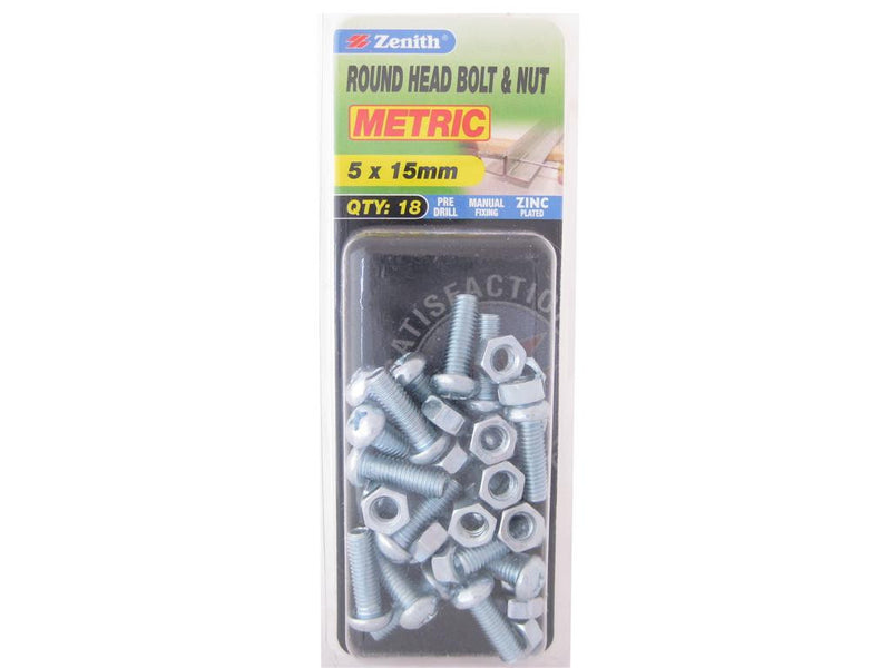 Zenith Bolts & Nuts M5 x 15mm Round Head Zinc Plated Pack of 18