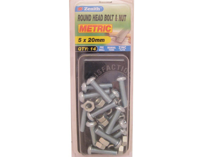 Zenith Bolts & Nuts M5 x 20mm Round Head Zinc Plated Pack of 14