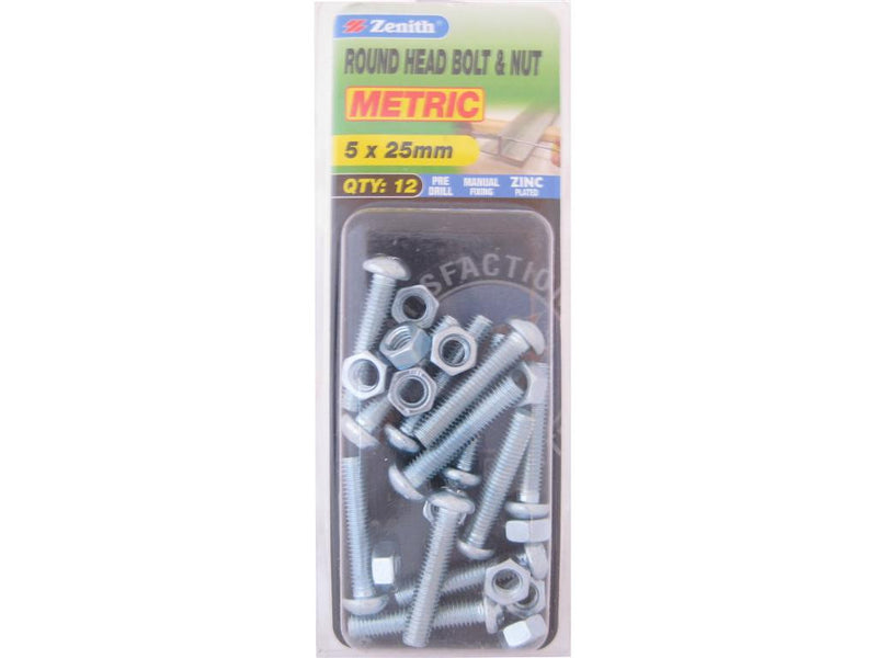 Zenith Bolts & Nuts M5 x 25mm Round Head Zinc Plated Pack of 12