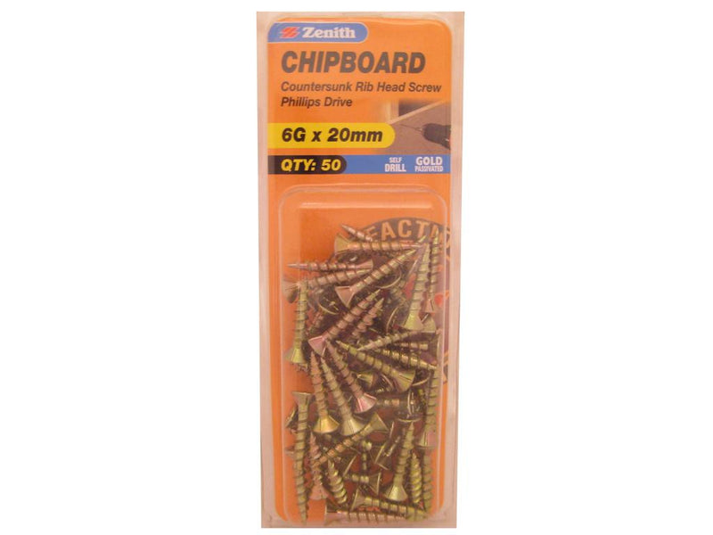 Zenith Chipboard Screws 6G x 20mm Gold Passivated 50 Pack