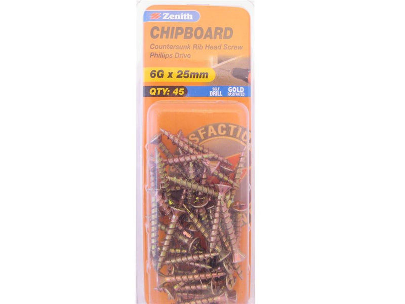Zenith Chipboard Screws 6G x 25mm Gold Passivated 45 Pack